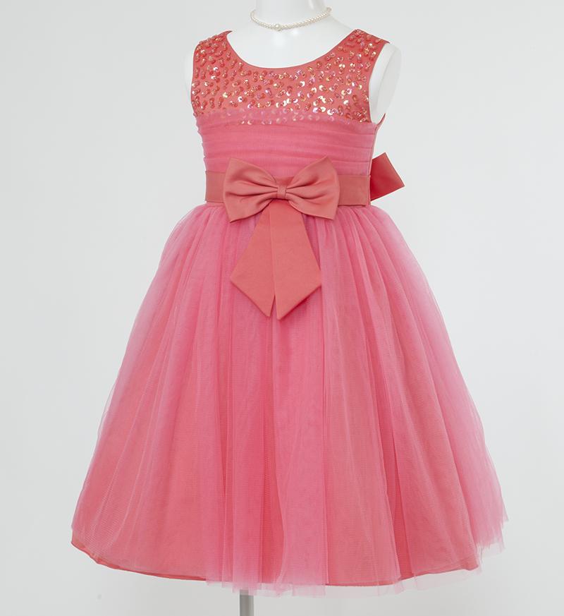 子供ドレス「エチュード」オレンジレッド P2002