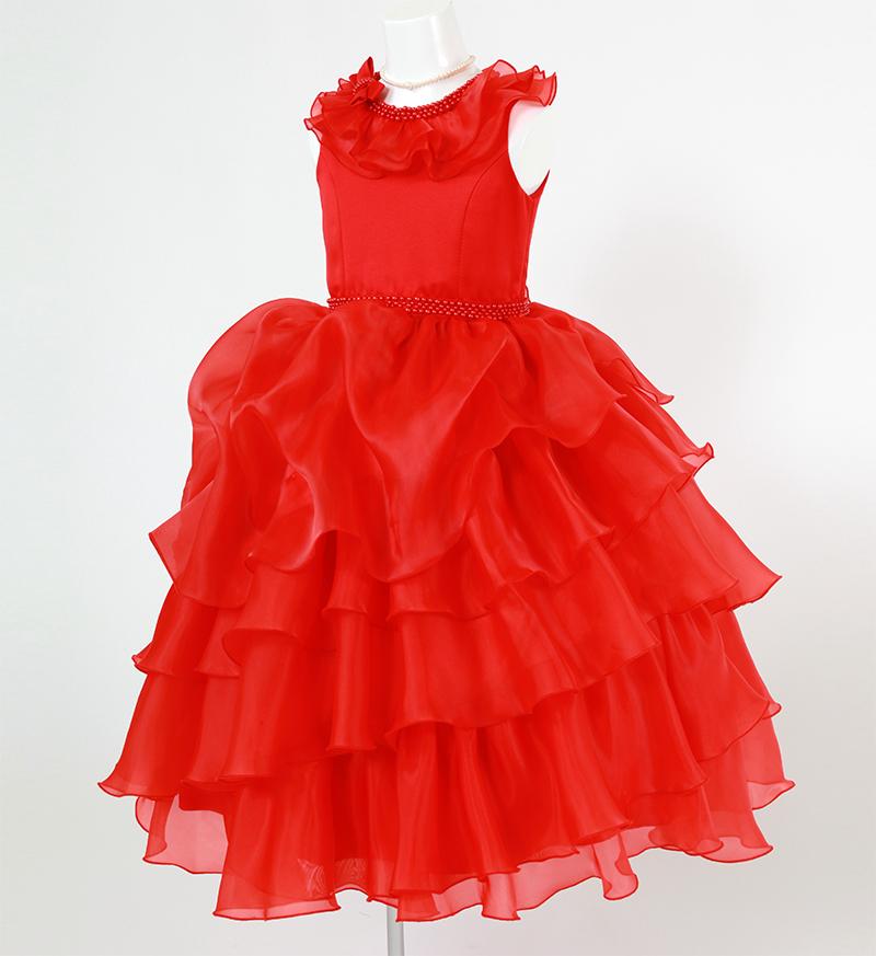 DressNotesのピアノ演奏用ドレス「アルドーレ2」プロミネンスレッド-9