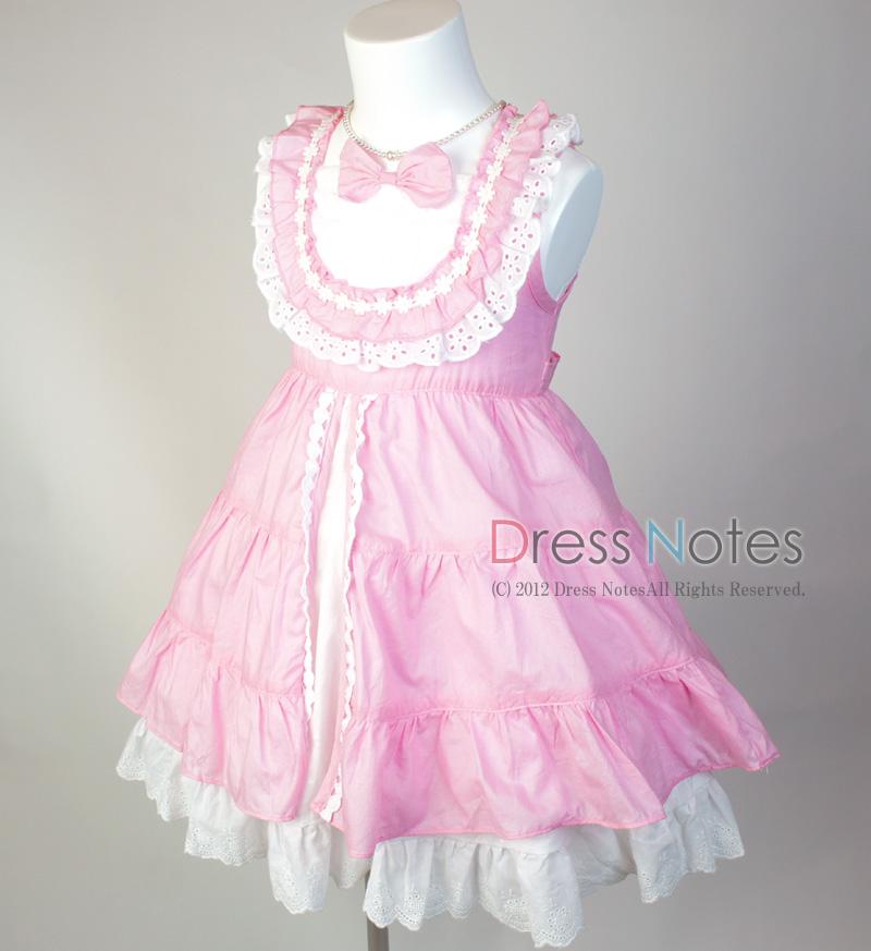 コットン子供ドレス「いちごみるくモア」 ピンク B1020