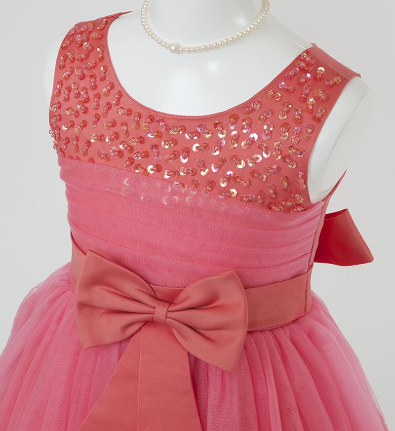 子供ドレス「エチュード」オレンジレッド P2002-1
