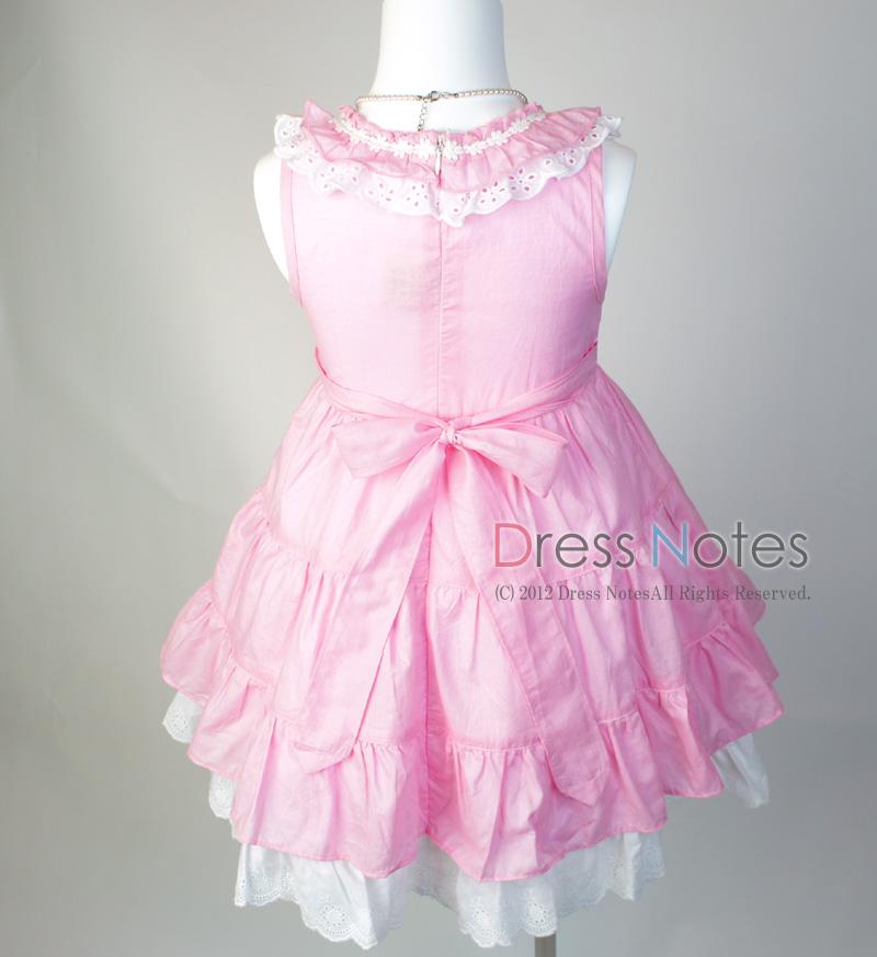 コットン子供ドレス「いちごみるくモア」 ピンク B1020-1