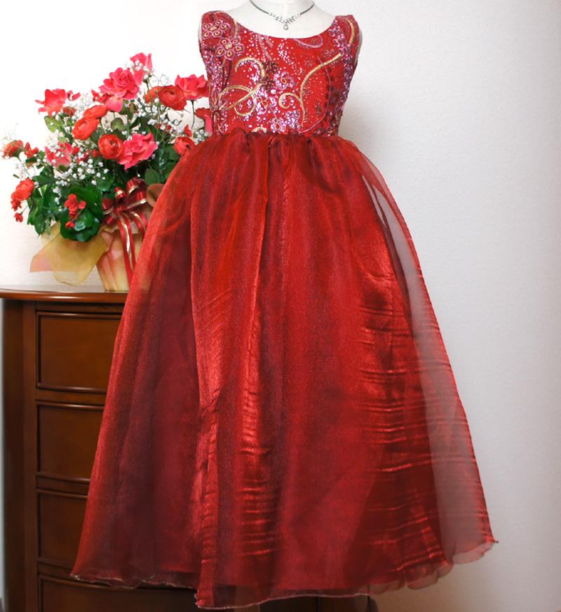 子供ドレス「ハバネラ」ワイン F8001-1