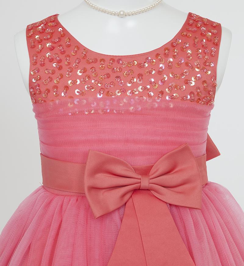 子供ドレス「エチュード」オレンジレッド P2002-2