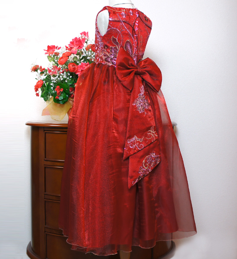子供ドレス「ハバネラ」ワイン F8001-5