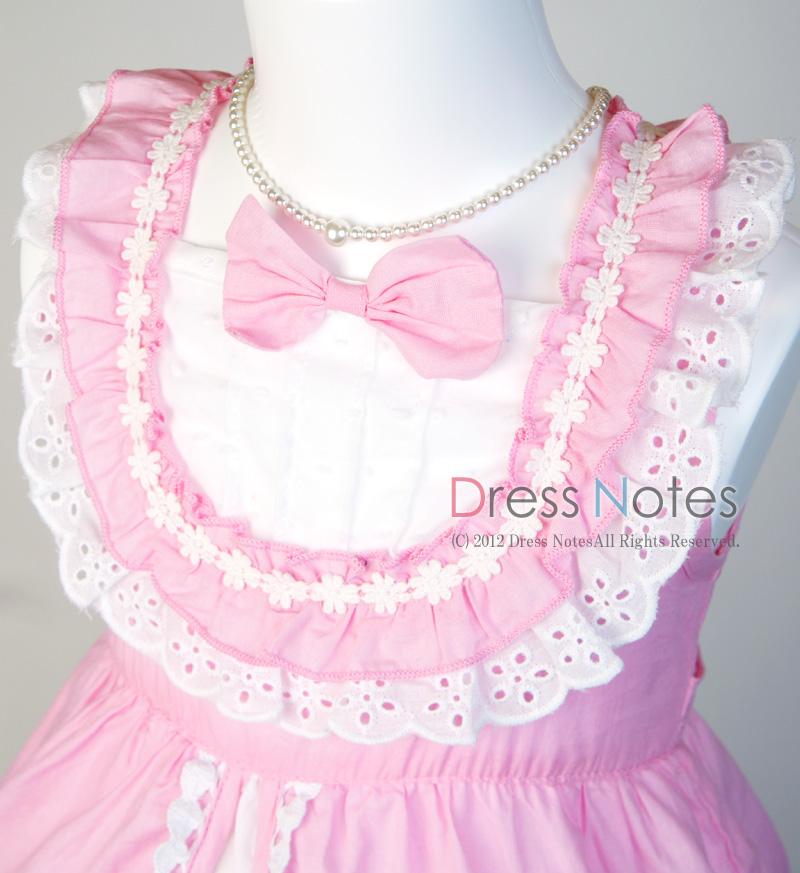 コットン子供ドレス「いちごみるくモア」 ピンク B1020-3