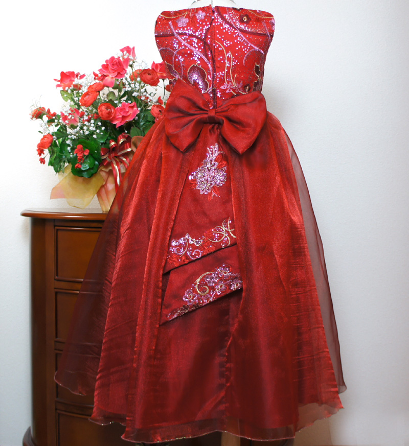 子供ドレス「ハバネラ」ワイン F8001-6
